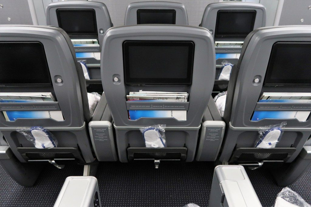 American Airlines 787-9 (789) Dreamliner Premium Economy seatback middle section no IFE