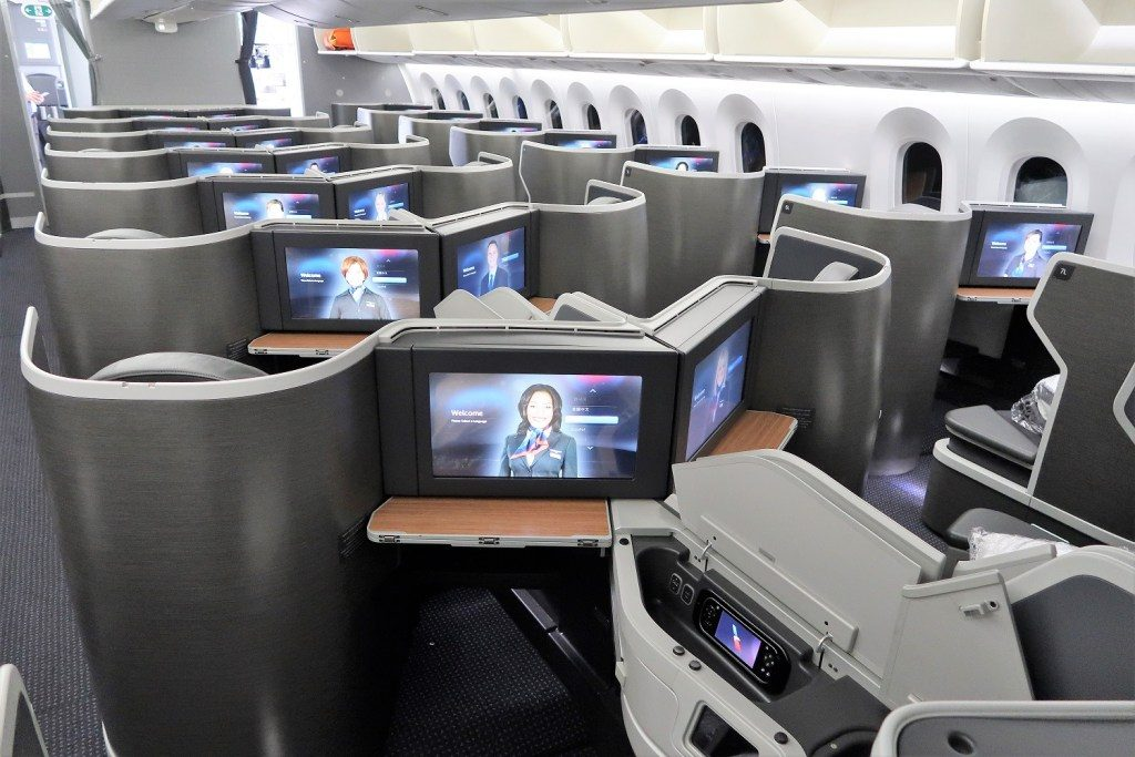 American Airlines 787-9 (789) Dreamliner business class IFE and seat rear view