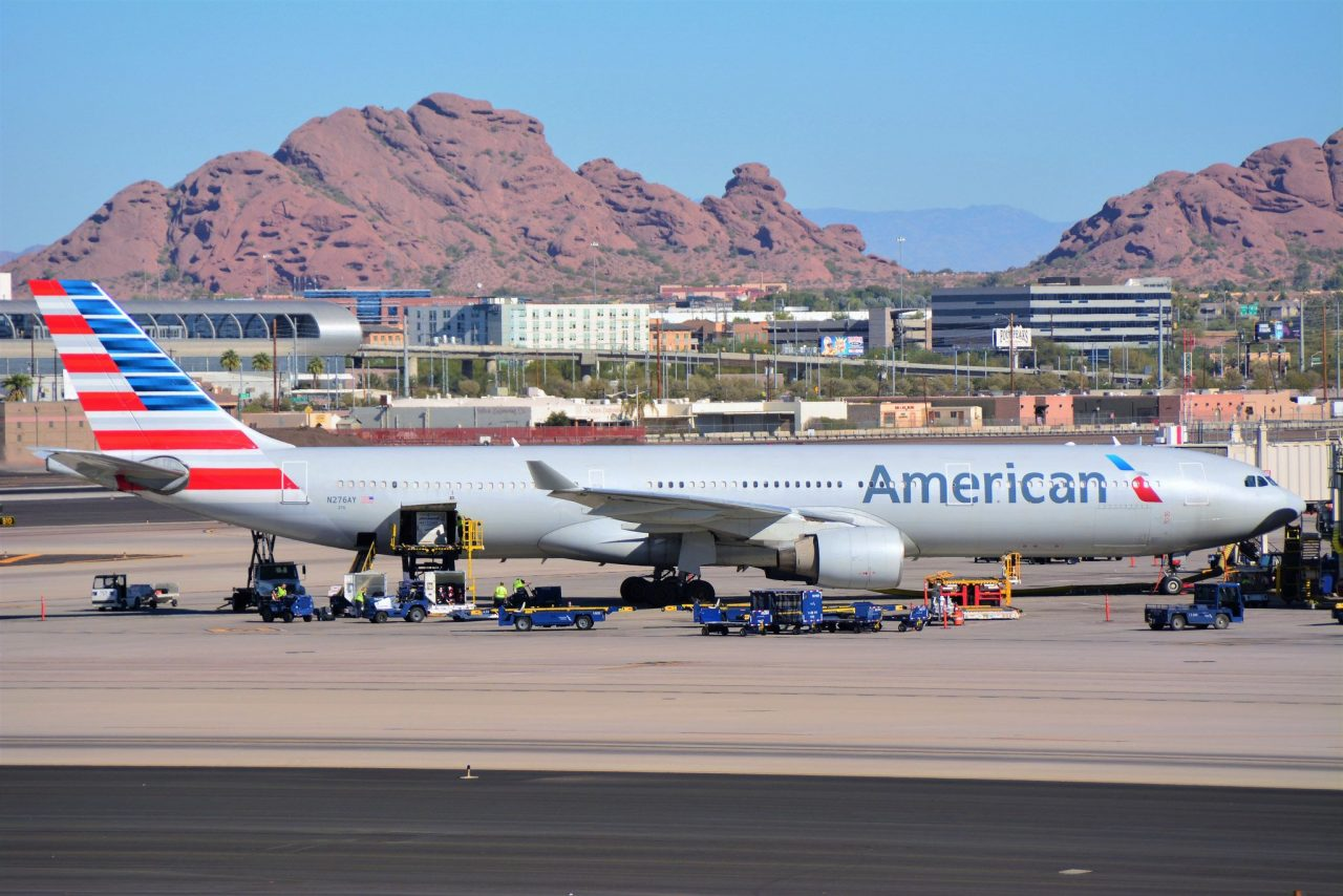 American Airlines Airbus A330-300 N276AY sitting at the gate at Phoenix Sky Harbor (KPHX)