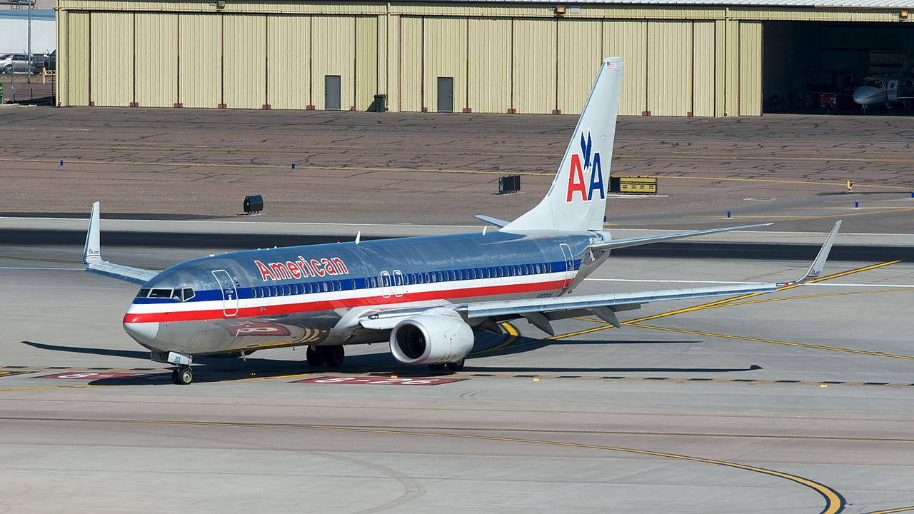 American Airlines Boeing 737-800(W) N802NN Taxing at PHX. Taken from the T4 parking structure