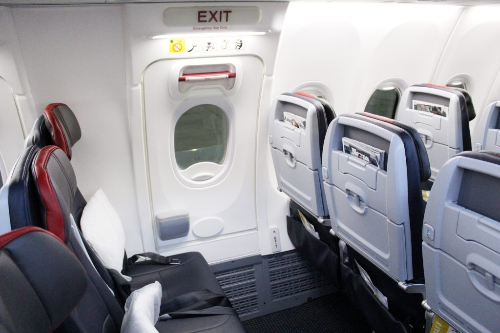 American Airlines Boeing 737 Max 8 Economy cabin the emergency exit