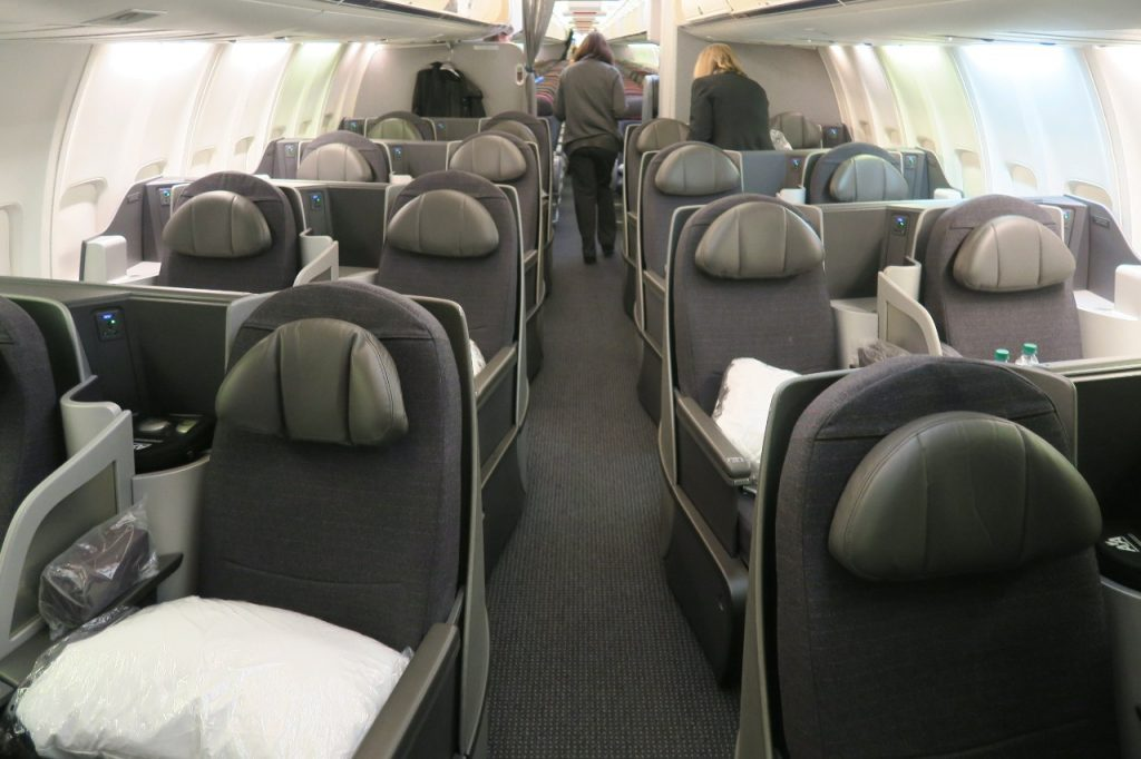 American Airlines Boeing 757-200 Business Class Cabin rows of 2-2 seating