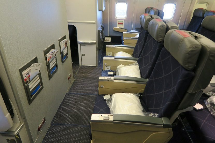 American Airlines Boeing 767-300 Row 20 bulkhead back economy cabin