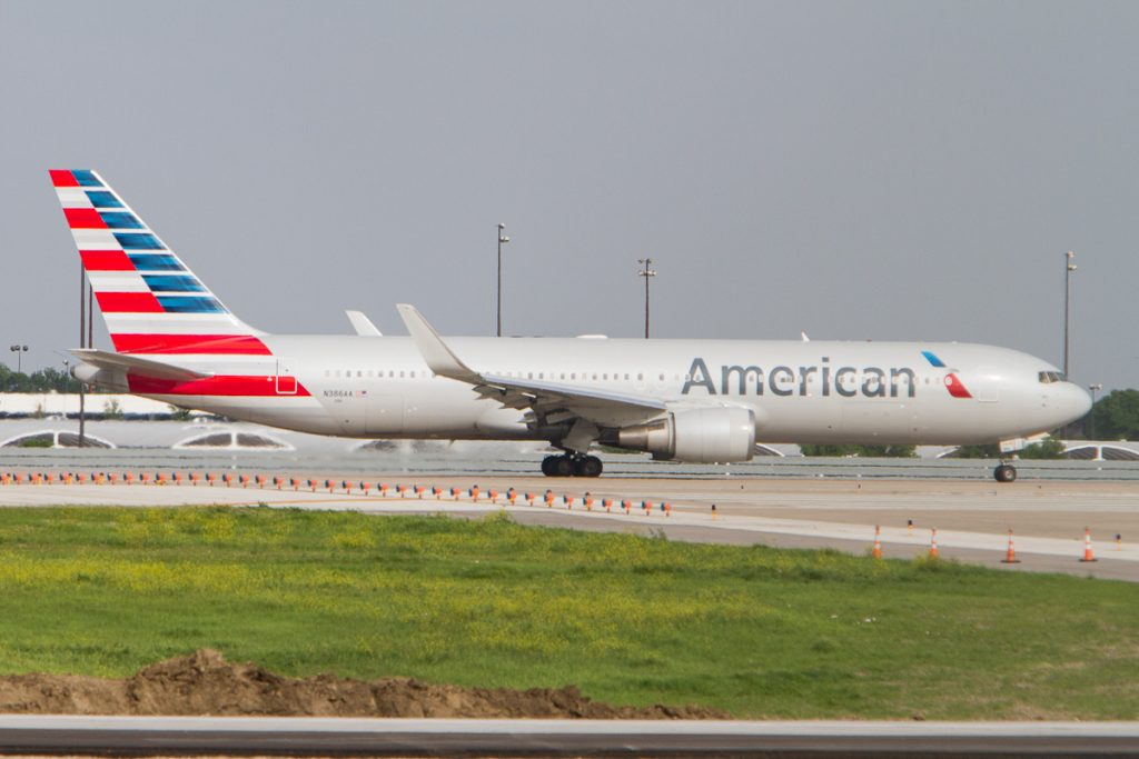 American Airlines Boeing 767-300(ER) N386AA ready for departure on DFW Airport runway 18L