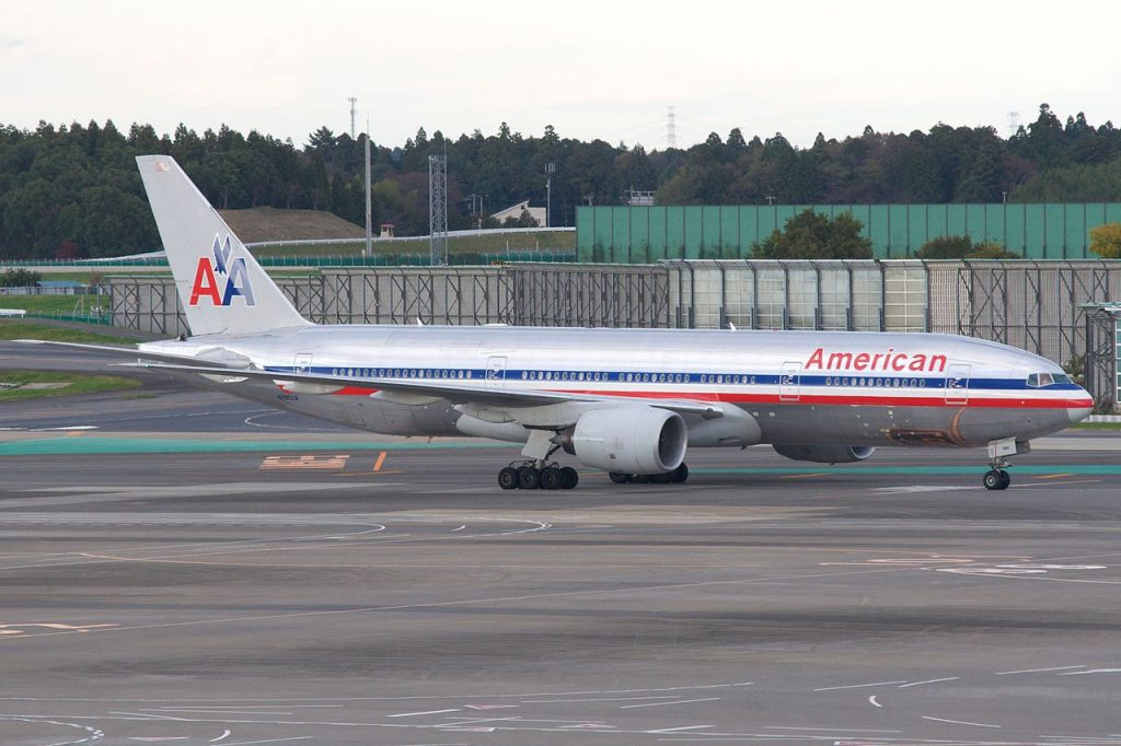 American Airlines Boeing 777-200ER N756AM Taxing at New Tokyo International Airport (NRT)