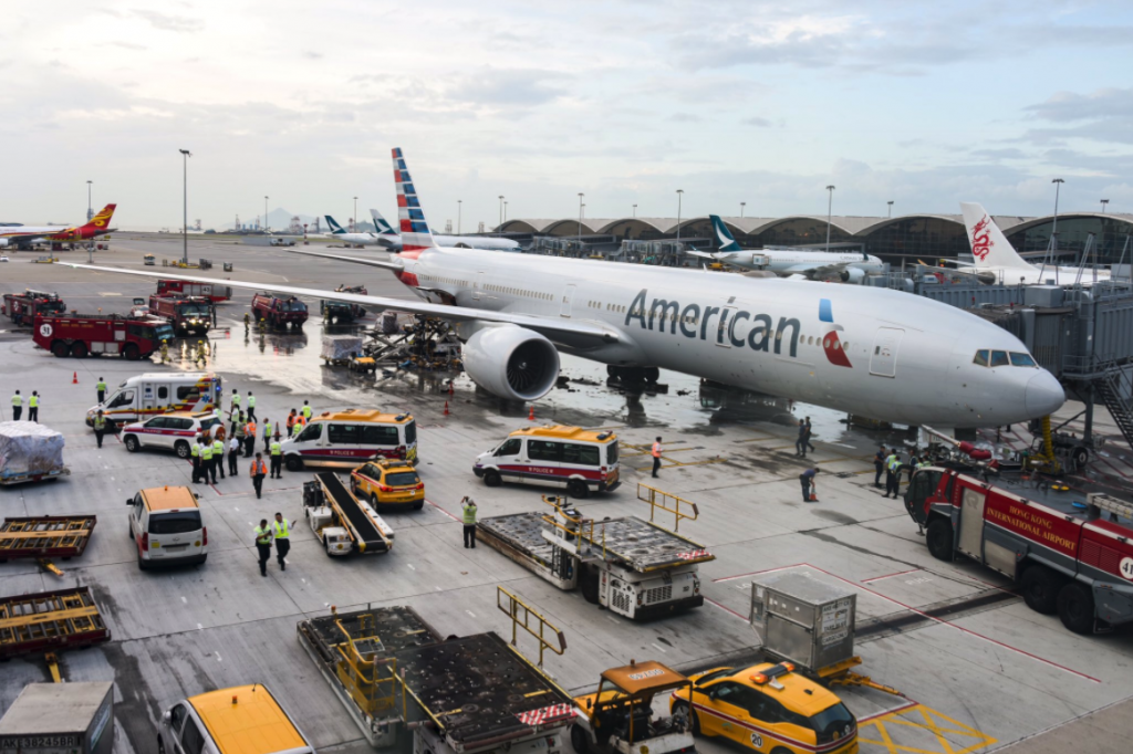 American Airlines Boeing 777-300(ER) was involved in a fire incident while being loaded at Hong Kong