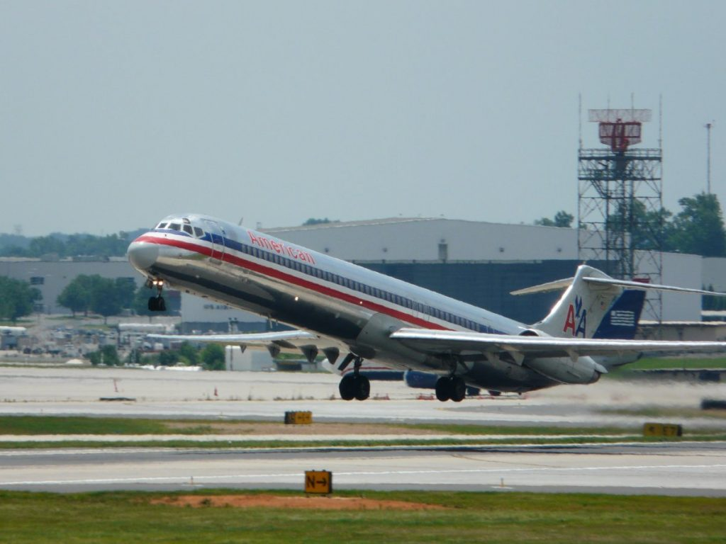American Airlines MD-83 (Super 80) lifts off of Runway 36C at Charlotte-Douglas International Airport