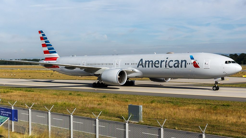 American Airlines Wide Body Boeing 777-300ER (N719AN) at Frankfurt Airport