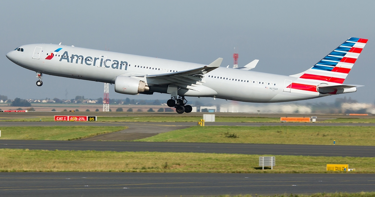 American Airlines Wide Body Fleet Airbus A330-300 Takeoff At Paris