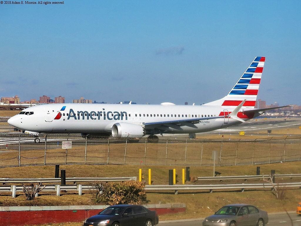American Airlines first Boeing 737 MAX 8, N324RA taxis into takeoff position at LaGuardia @Adam Moreira