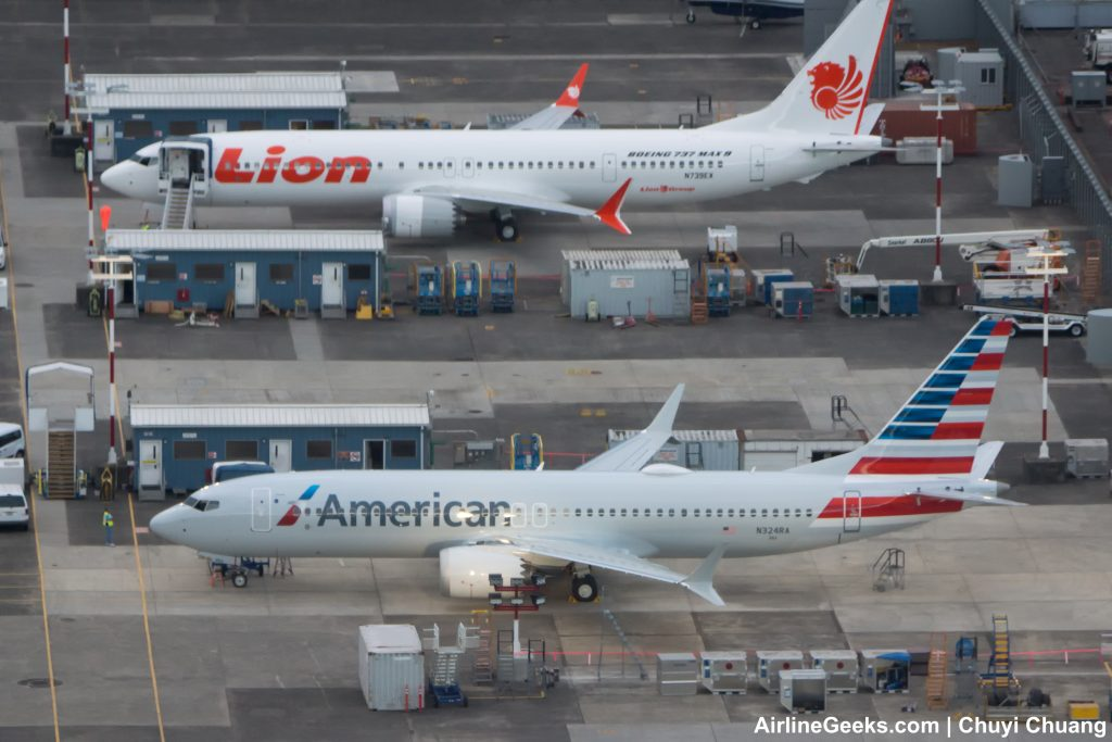 American Airlines first Boeing 737 MAX 8 side by side with Lion Air Max 8 seen on the flightline at Boeing Field (Photo- AirlineGeeks | Chuyi Chuang)