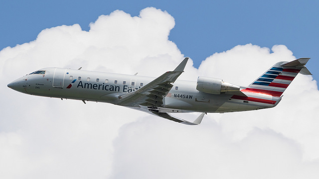 American Eagle Airlines Bombardier CRJ-200 N445AW Departing runway 1 to Columbia