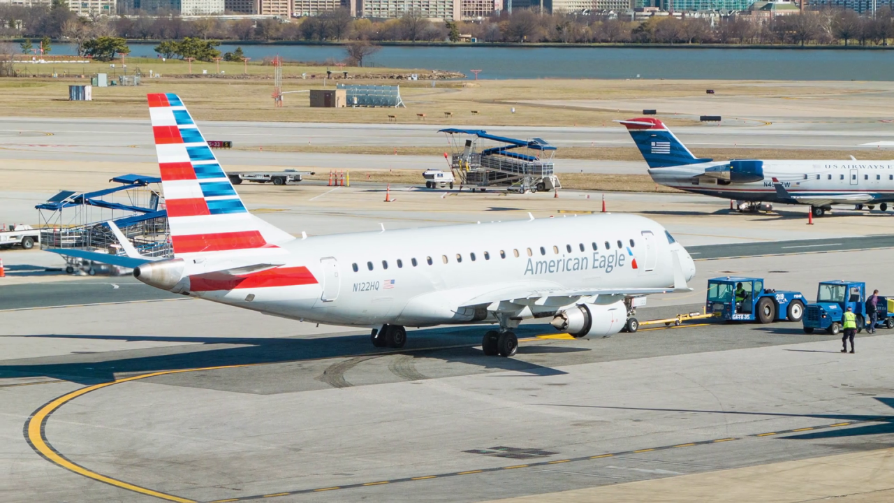American Eagle Airlines Embraer E175 Airliner N122HQ Prepared for Departure at Reagan National Airport DCA in Washington