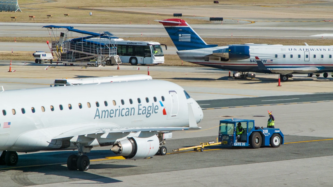 American Eagle Embraer E175 Airliner Close-up Platform Preparation for Departure at Reagan National Airport DCA in Washington DC