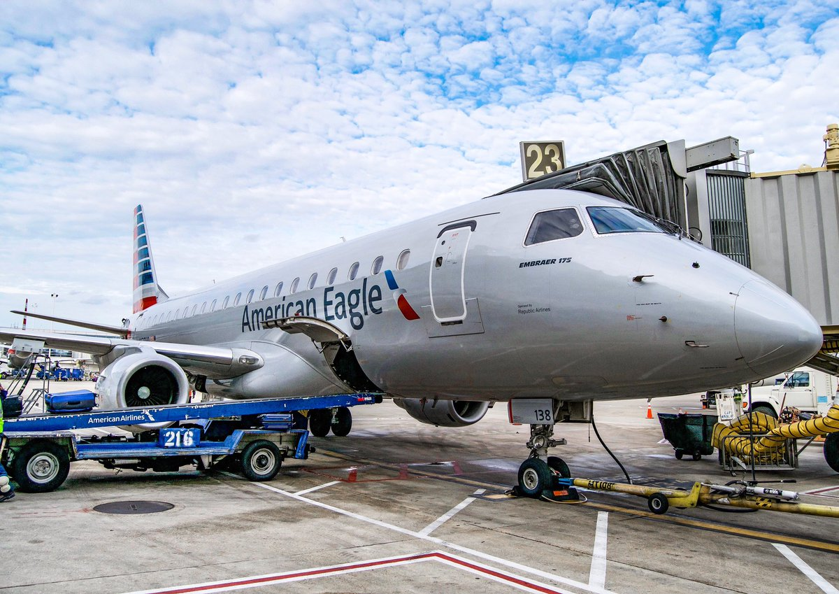 American Eagle (Republic Airlines) Embraer E175 Boarding at Terminal Gate