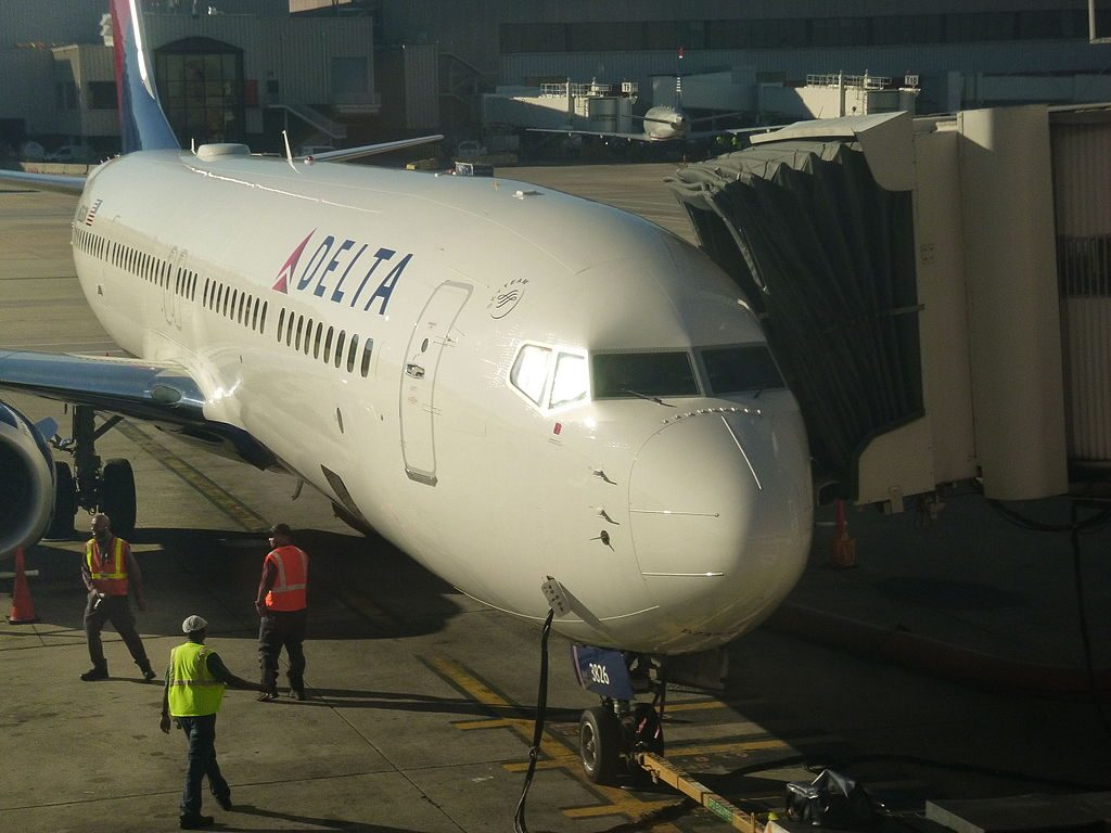 Delta Air Line Fleet Boeing 737-900:ER at gate in Atlanta International Airport