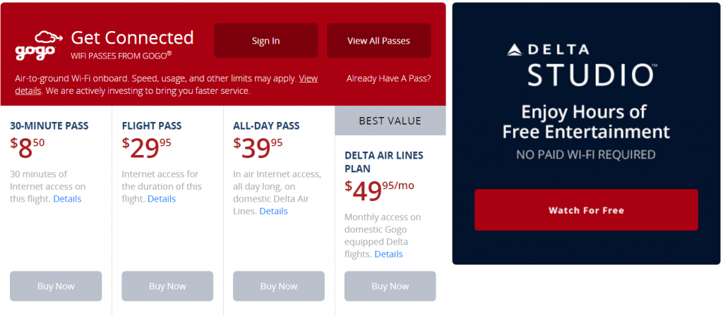 Delta Air Lines Airbus A319-100 In-Flight Internet Service Options