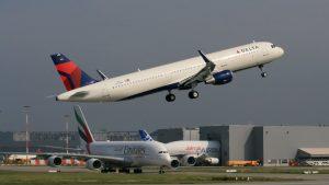 Delta Air Lines Airbus A321 N305DN (D-AVXR, MSN 7149) departing Hamburg Finkenwerder Airport