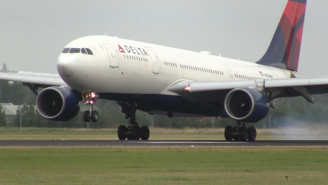 Delta Air Lines Airbus A330-200 Landing at Amsterdam Airport Schiphol