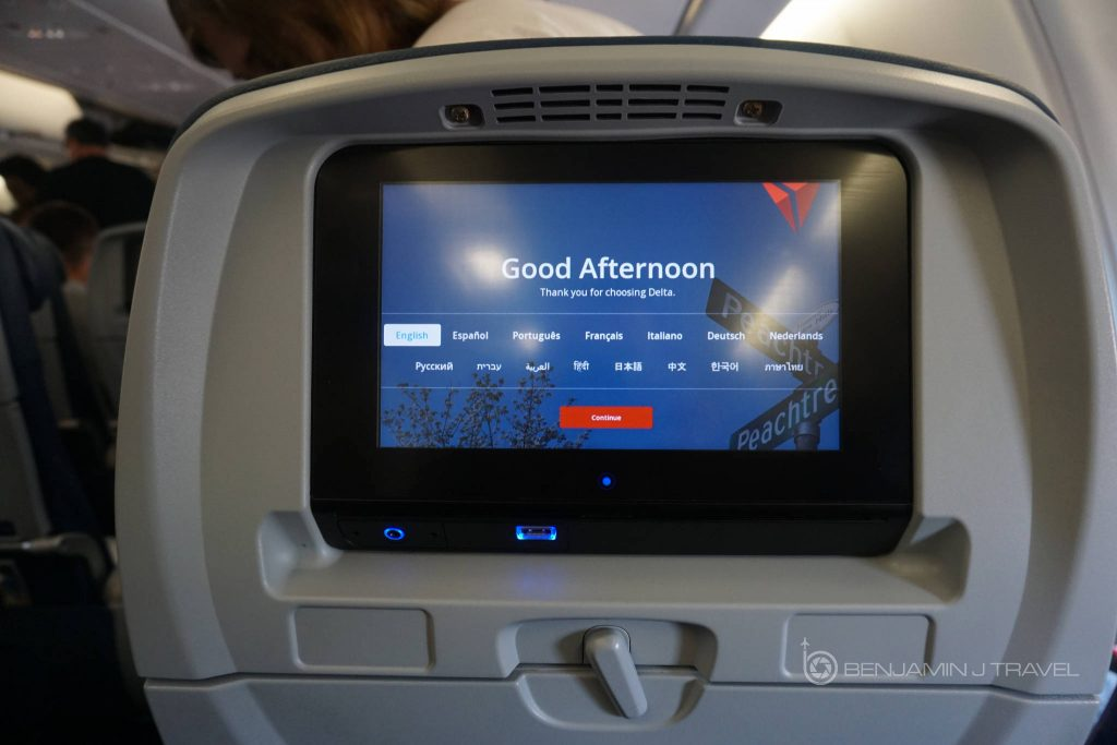 Delta Air Lines Airbus A330-300 Main cabin economy class IFE system photos @Benjamin J Travel