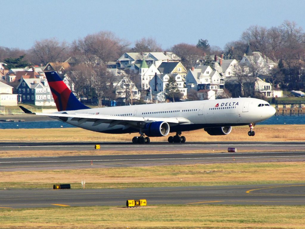 Delta Air Lines Airbus A330-300 N812NW take off at General Edward Lawrence Logan International Airport