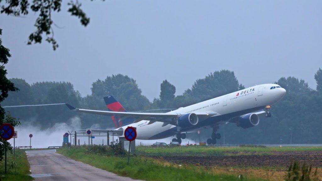 Delta Air Lines Airbus A330-300 N831NW Soaked runways takeoff & landings