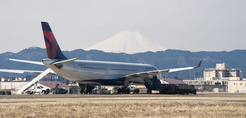 Delta Air Lines Airbus A330-323 N806NW at Yokota Air Base with Mount Fuji