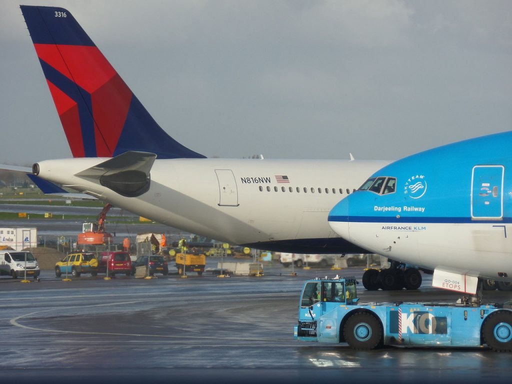 Delta Air Lines Airbus A330-323 N816NW and KLM Royal Dutch Airlines Boeing 777-206ER PH-BQD at Amsterdam Airport Schiphol