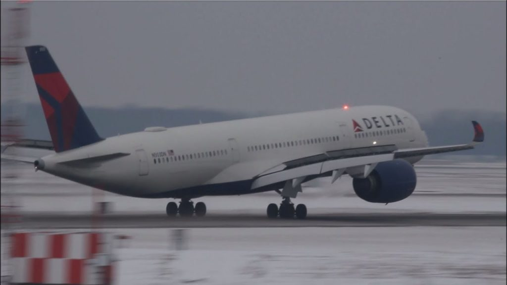Delta Air Lines Airbus A350-900 N503DN Landing in Detroit from Tokyo