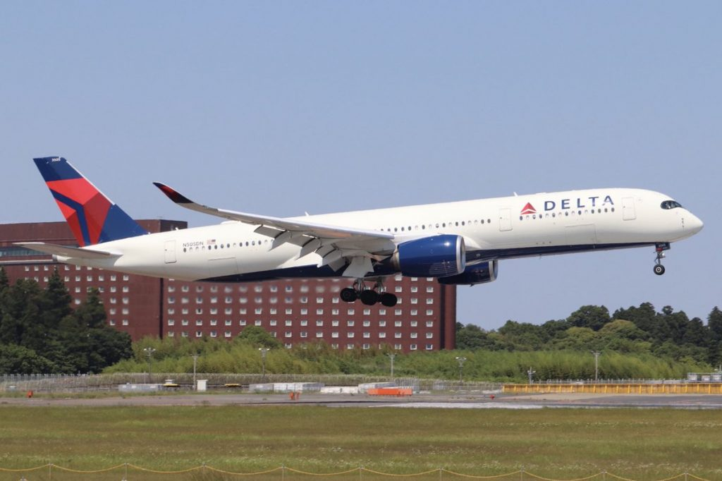 Delta Air Lines Airbus A350-900 N505DN Wide Body Aircraft at Narita Airport Japan