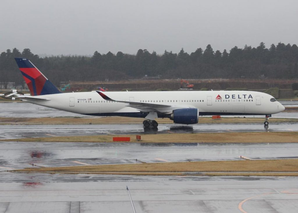 Delta Air Lines Airbus A350-900 N506DN Taxiing on Wet Runway @NRT