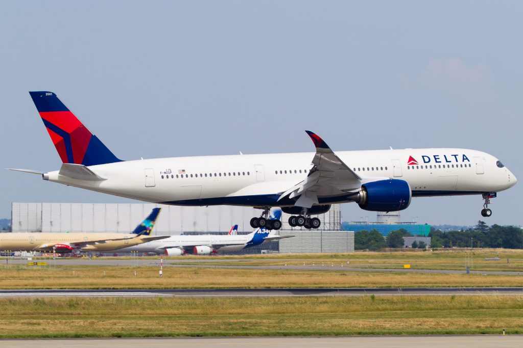 Delta Air Lines Airbus A350-900XWB N501DN touches down after a successful test flight
