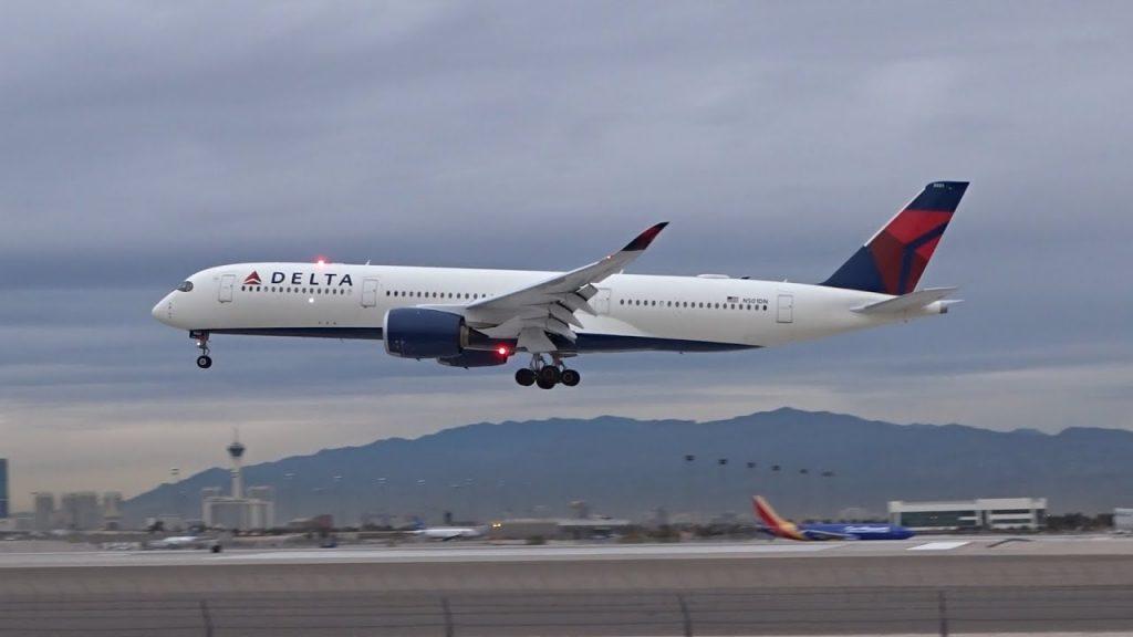 Delta Air Lines Airbus A350-941 (N501DN) arriving & departing Las Vegas