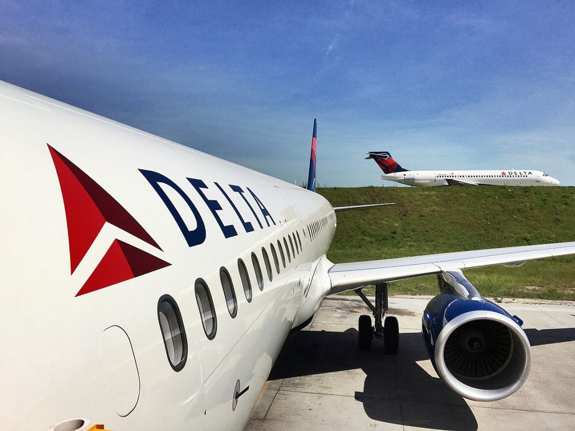 Delta Air Lines Boeing 717-200 passes the carrier's first Airbus A321 on the ramp at Hartsfield-Jackson International airport