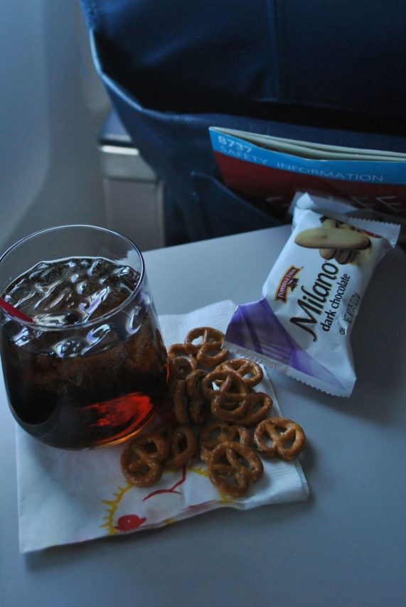 Delta Air Lines Boeing 737-700 First Class Inflight Amenities Snacks and Drinks Photos