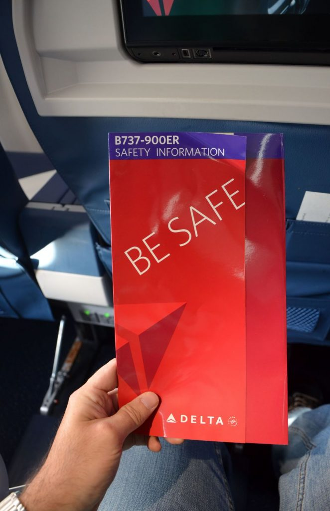 Delta Air Lines Boeing 737-900ER First Class Cabin Safety Card Photos