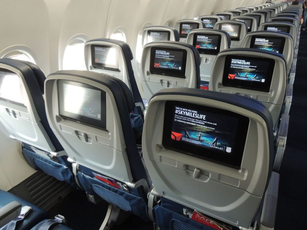 Delta Air Lines Boeing 737-900ER Main Cabin Economy Class Seats Back view Video Screen Photos