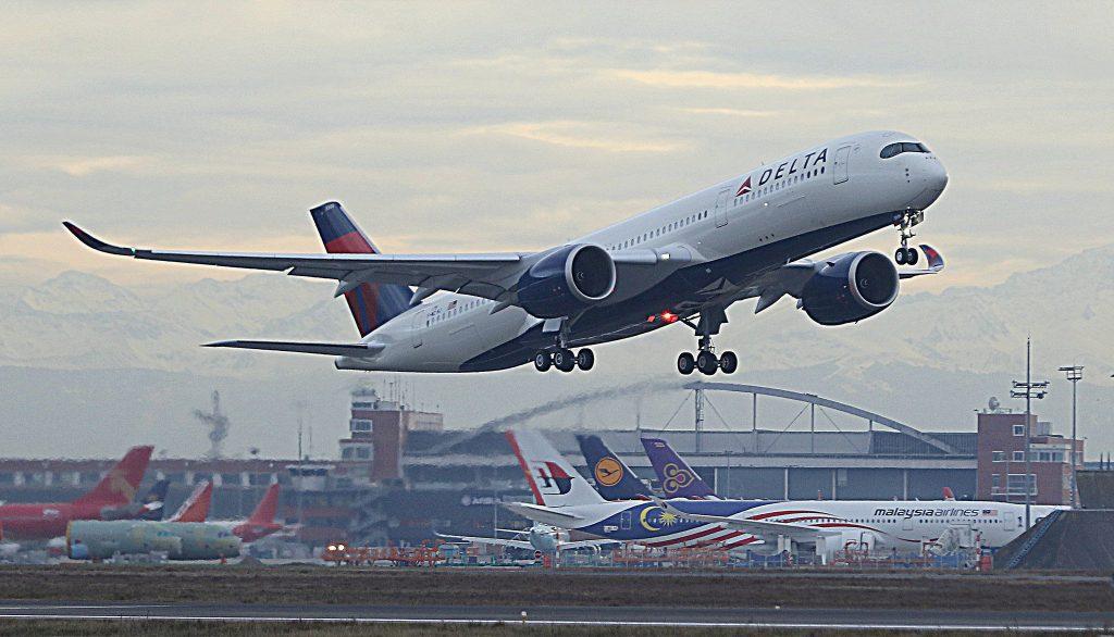 Delta Air Lines Fleet Airbus A350-900 N506DN Take off Photos