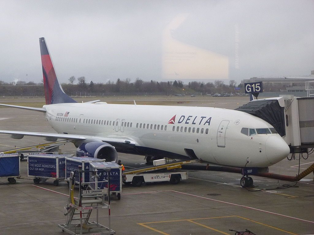 Delta Air Lines N837DN Boeing 737-900:ER at gate in Minneapolis Airport