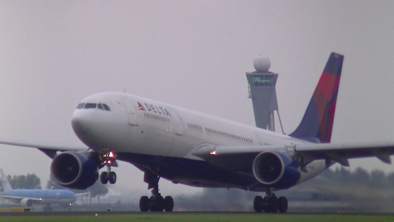Delta Airlines Airbus A330-200 (N854NW) Take-off from Schiphol Intl. Airport