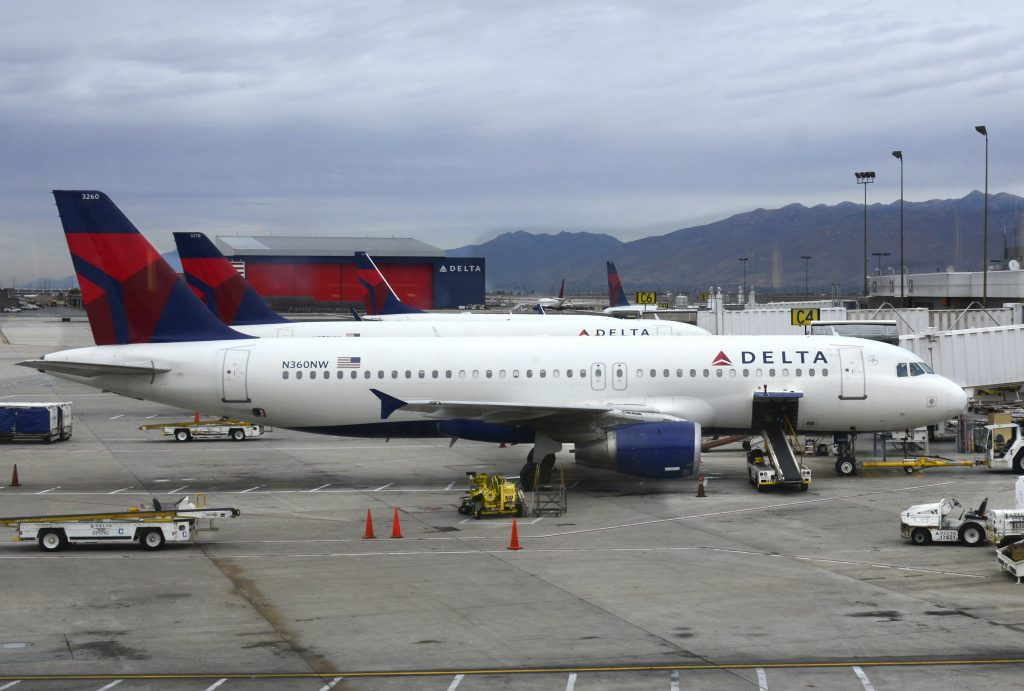Delta Airlines Fleet Airbus A320-212 N360NW on Boarding gate at Salt Lake City International Airport