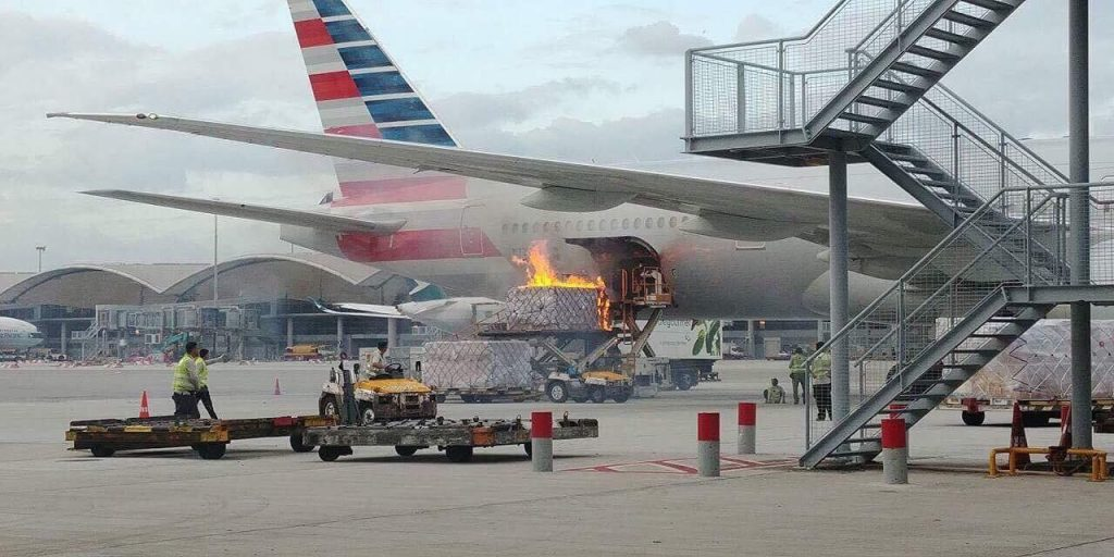 Hong Kong airport - a cargo pallet for this American Airlines Boeing 777-300ER has caught fire - 09 October 2017