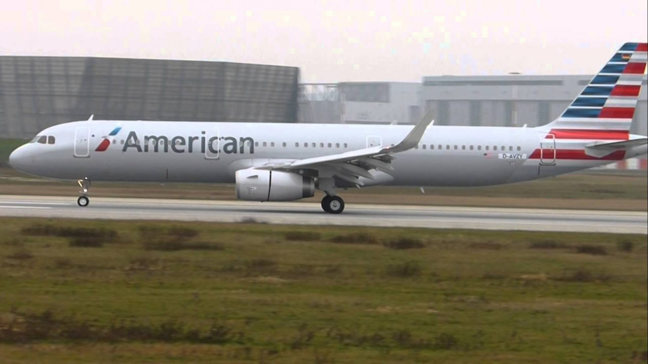 Landing new A321 for American Airlines at Airbus Plant Hamburg (D-AVZY)