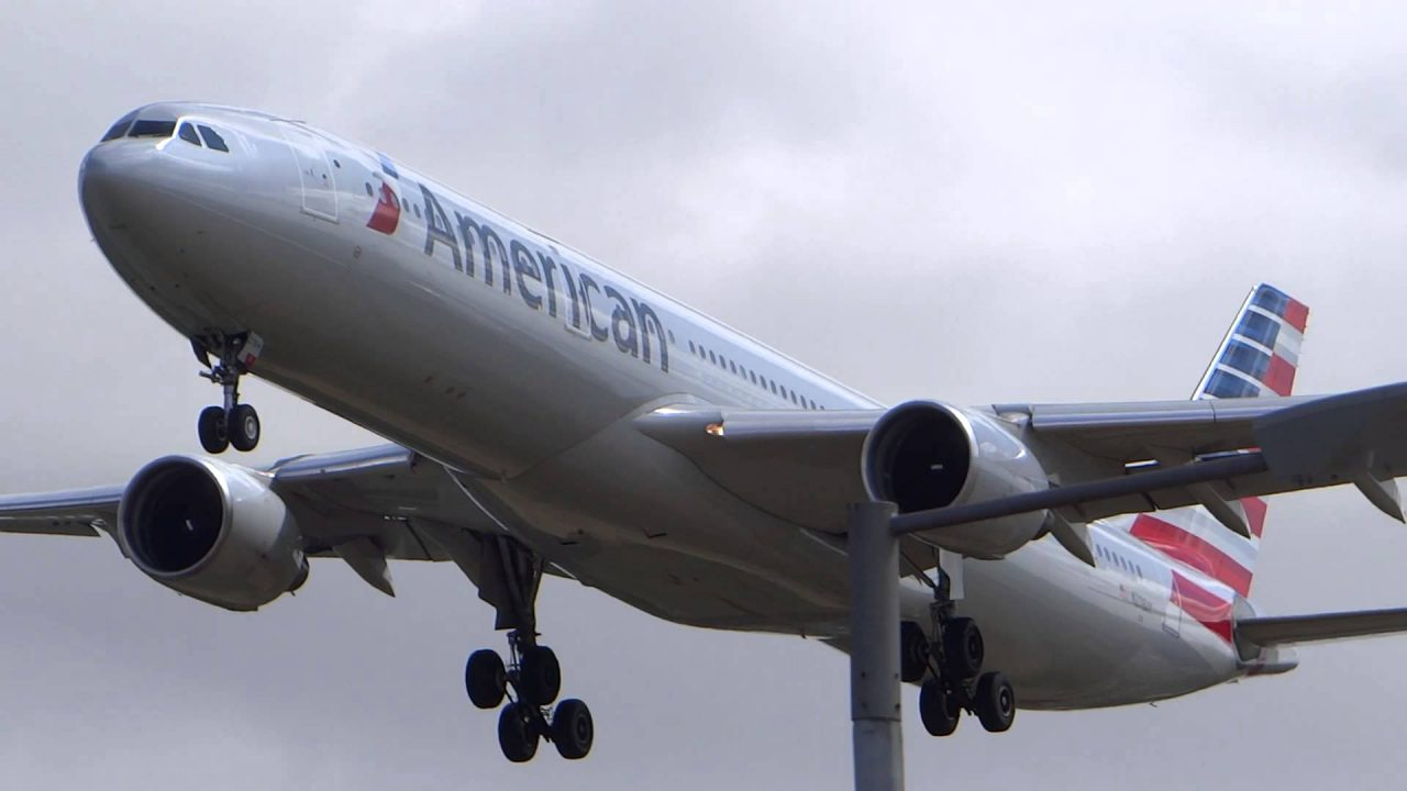 N278AY American Airlines Airbus A330-300 Landing at London Heathrow Airport