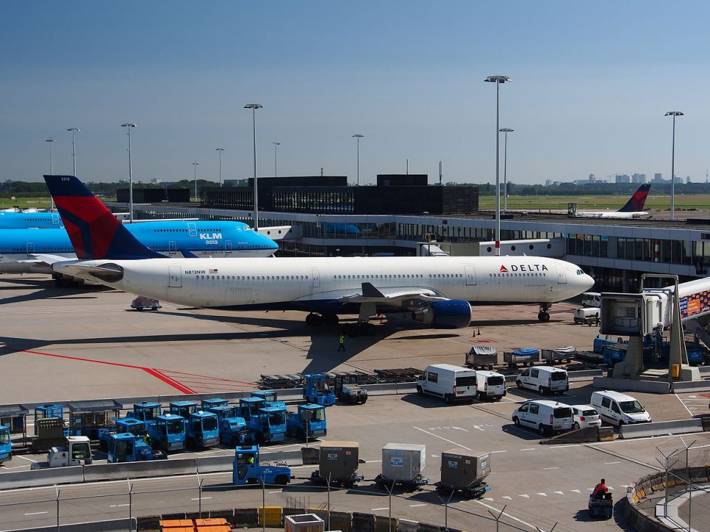 N813NW Delta Air Lines Airbus A330-323X and KLM Boeing 747 at Schiphol, Amsterdam airport