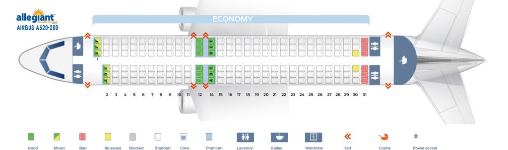 Seat Map Airbus A320-200 Allegiant Air Seating Chart Picture