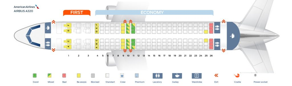 Seat Map American Airlines Airbus A320-200 Seating Chart Picture