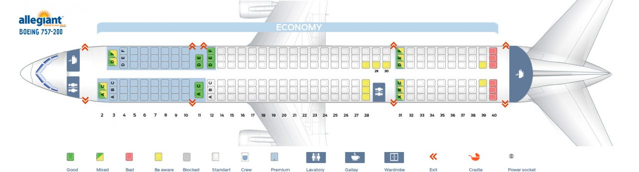Seat Map Boeing 757-200 Allegiant Air Seating Chart