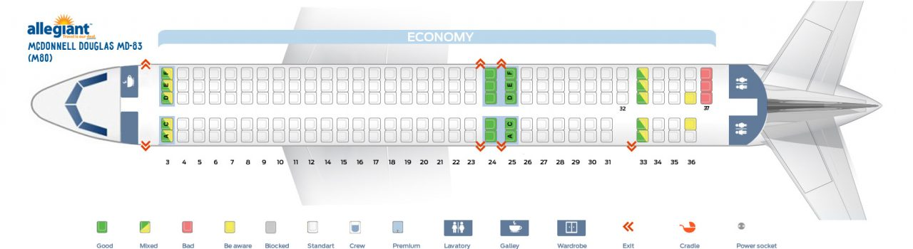 Seat Map McDonnell Douglas MD-83 Allegiant Air Seating Chart Picture
