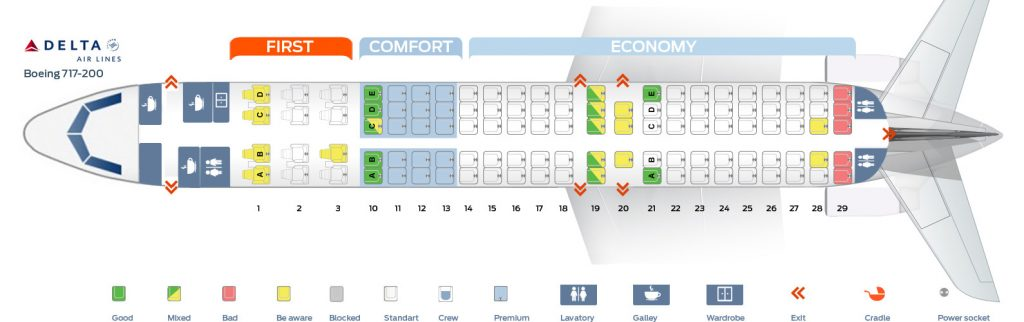 Seat map Delta Air Lines Boeing 717-200